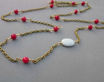 Long Coral Necklace - Long Red Necklace with Porcelain, Red Coral and Brass