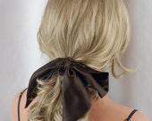 "100% Pure Silk Espresso Headband, Size 44"" x 2.75"", Mulberry Charmeuse Silk, Hair Tie, Hair Band, Hair Wrap"