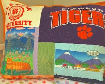 Quilted Pillow Sham, T Shirt Mosaic Quilted Pillow, Quilted Pillow, Memory Pillow, Personalized Pillow, Custom Pillow Sham