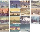 "V. Meshkov ""Beautiful Siberia"". Set of 15 Vintage Postcards (out of 16) -- 1966"