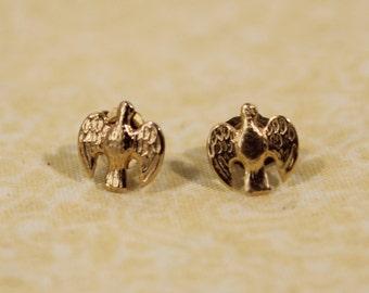 14K Gold Dove Earrings - Pierced