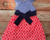 Girls Navy Red Lattice Print Flutter Sleeve Dress with Sash 6 12 18 24 2T 3T 4T 5/6 7/8 9/10 11/12 4th of July Memorial Day Sibling Set