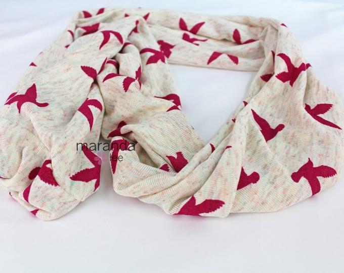 SALE Infinity Scarf - READY to SHIP -Pink Birds- Jersey Knit Cotton Scarf Chevron