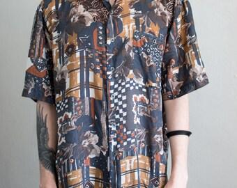 abstract silk shirt - XL
