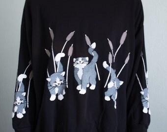 oversized kitten sweatshirt - 2X