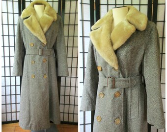 Vintage Wool Trench Coat 1940s 1950s Storm Coat Shearling Fur Collar Stormcoat Unisex 40 41 Unisex / S M Small Mens 38 / Womens L XL Sherpa