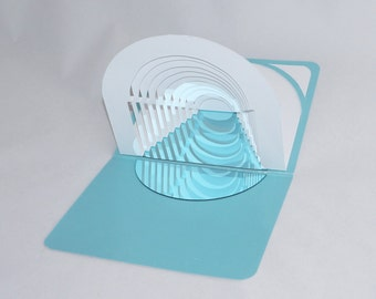 GATES to the FUTURE 3D Pop up GRADUATION CARd Origamic Architecture Home Décor In White and Shimmery Light Blue With Reflections in a Mirror