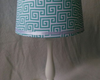 Geometric White and Blue Lamp Shade