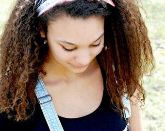 Aztec Print Tribal Fabric Headband, Summer Bandana Beach Hair Scarf, Bow Tie Headband