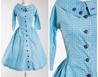 Vintage 1950s Dress • Rag Doll • Blue Print Cotton 50s Day Dress Size Small
