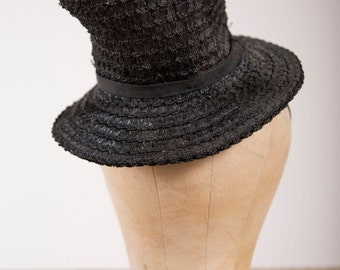Late 1930s Vintage Tilt Topper Black Straw 30s Hat