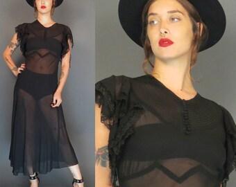 vintage 40s black sheer chiffon dress // handkerchief sleeves // chevron bust // bias cut