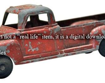 Vintage Little Red Toy Metal Truck - Digital Photo Image