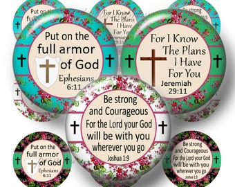 CHRISTIAN, Digital Collage sheet, Bottle Cap Images, 1 Inch circle, Instant Digital Download, Religious, Scripture, Bible Verse, (No.12)