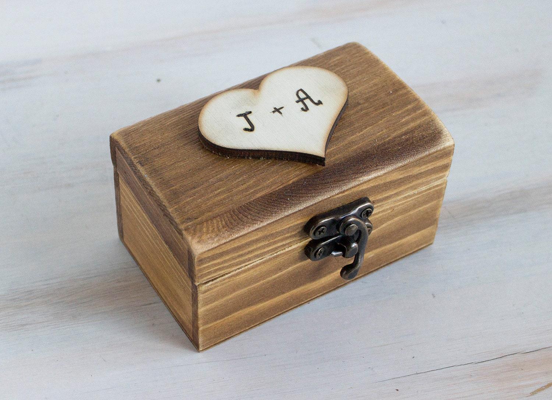 Wedding ring box ring bearer box custom ring box rustic ring for Custom made ring box