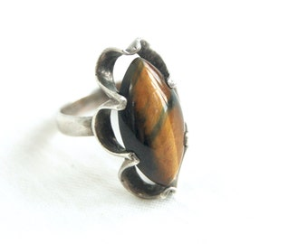 Tigers Eye Ring Sterling Silver Size 7 .5 Marquise Honeyed Molasses Vintage Southwestern Jewelry