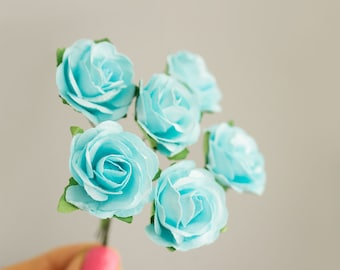 Bouquet Light Blue Paper Roses / Size 30 mm /  Paper Flowers With Wire Stems / Six Blossom Bouquet / Artificial Flowers / Wedding Favors