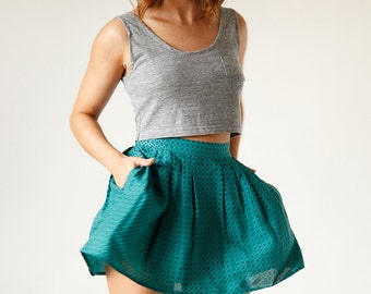 SOLD Indie Market - Vintage Teal Blue Green Pleated Mini Skirt size 6 small medium - Made in USA