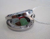 Genuine Sea Glass Locket Necklace with Real Red Sea Glass