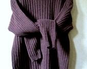 Wool Crewneck boyfriend pullover oversized sweater dark brown chocolate rustic woodsy ribbed knit vintage 90s unisex women men large