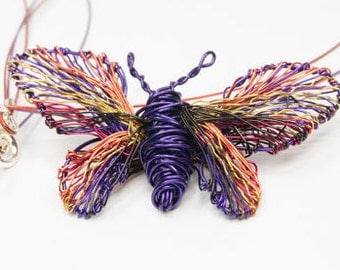 Purple Butterfly necklace Wire art pendant Wire necklace Butterfly jewelry Purple necklace Rainbow jewelry Unusual jewelry Insect jewelry