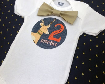 Baby Bow Tie Onesie®, Baby Bowtie Onesie®, Monthly Onesie®, Monthly Baby Stickers, Baby Month Stickers, Baby Boy, Woodland, Deer, Fox, Tan
