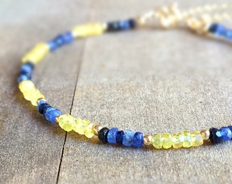 Sapphire Bracelet - Blue Hombre and Yellow Gemstone Jewelry - Beaded Jewelry - Gold Jewellery - Luxe