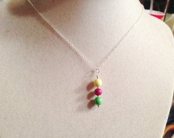 Turquoise Necklace - Pink Green Yellow - Sterling Silver Jewelry - Gemstone Jewellery - Pendant - Chain