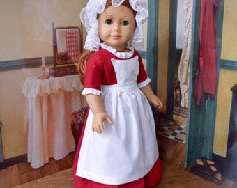 1700s 3 Piece Colonial Day Dress Set for Felicity, Elizabeth or 18 inch Doll