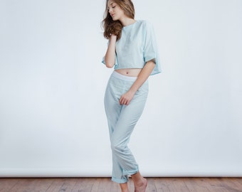 ON SALE >> Sleepwear Crop Top and Pants >> Light Blue
