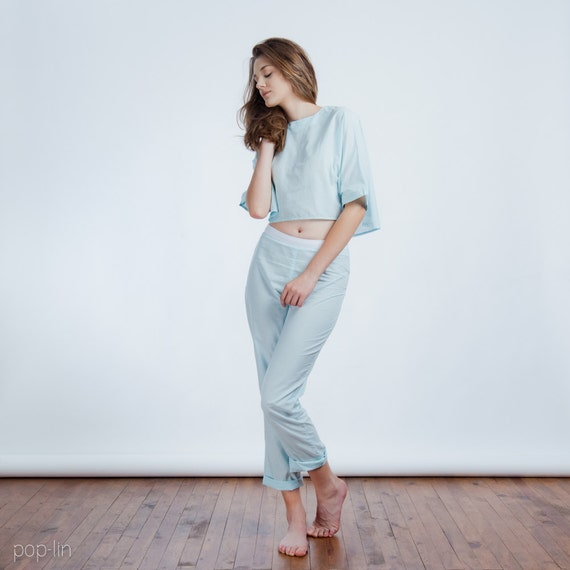 ON SALE >> Sleepwear Crop Top and Pants >> Light Blue