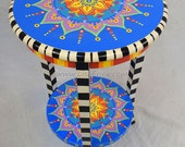 Hand Painted Mandala Side Table With Shelf and Three Checkered Legs