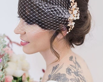 Gold Flower Headpiece Birdcage Veil Ivory Hair Vine Clips