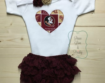 Seminoles Bodysuit, Lace Ruffle Diaper Cover and Headband Set Made from Florida State University Fabric, FSU Baby, Nole Girl, Nole Baby