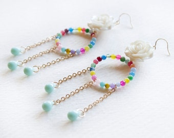 Rainbow Earrings, Dangle and Hoop Earrings in Colorful Agate Beads with Resin Flower and Czech Glass Teardrops