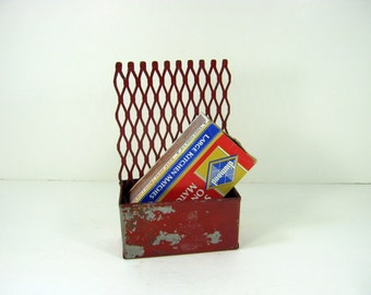 Vintage RUSTIC STORAGE BOX Red w/ Metal Grill Office Organizer Match Safe