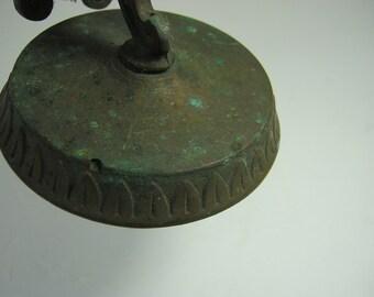 Antique BRASS DOOR STOP Aged Patina Art Nouveau Trim Candleholder Sconce