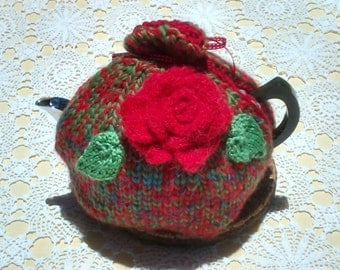 Tea Cozy floral hand knitted with large red rose and  green leaves