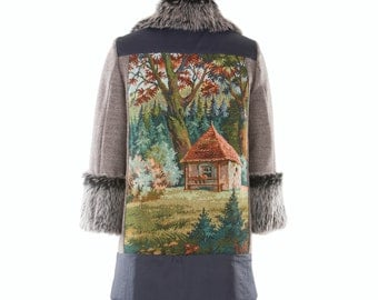 Wool coat FOREST TRILOGY - size S/36 - fall/winter '15 #2 - women wool coat with faux fur and vintage tapestry, one of a kind
