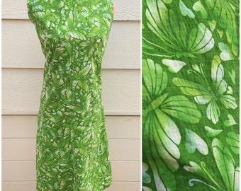 Lime green butterfly 60s slit neck sleeveless wiggle dress size XL