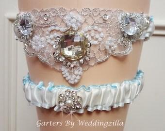 Wedding Garter Set ,  Ivory  Blue Lining and  Beaded Crystals Applique, Ivory Bridal Garter, Wedding Garter Belt