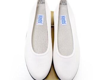 1980's KEDS Essentials ballet flats / white vintage Keds slip on flats / 80s white keds / women's size 8.5