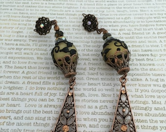 Creamy Steampunk Earrings Made With Copper, Cream And Black Lampwork Beads, Czech Beads, Rhinestones Victorian Style