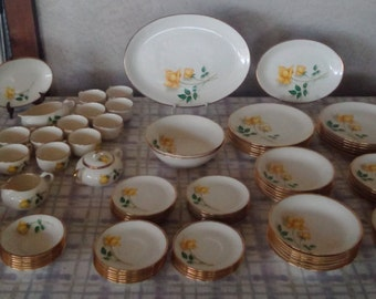 Vintage PRISTINE Canonsburg Pottery Temptation Simplicity Pattern, Yellow Rose Gold Trim Service for 6, Hostess Set Available, Dish Set