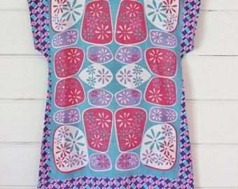 Upcycled Vintage Linen Tea Towel Tunic Dress XS Petite Womens Retro Flower Pink Purple Blue Daisy Spots Mini Mod