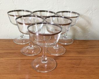 Vintage Silver Rim Champagne Glasses Set Of 7 Silver Rimmed Coupes Saucers