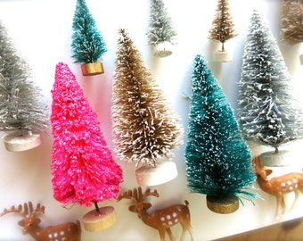 Mini Pink Easter Glittery Bottle Brush Trees-Two 4 Inch-Holiday Pines-Putz Village-1950 Retro Pink-Christmas-Fairy Houses-Spring Terrarium