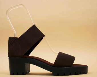 90s Vtg NIB Deadstock Chocolate Brown Bandage MINIMAL Platform Sandal / Ankle Strap Elastic Chunky Heel Grunge Modern / 10 9.5 Eu 42 41