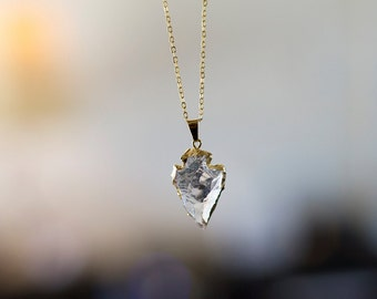 Quartz Arrowhead Necklace - Crystal Gemstone Jewelry - Gold Layering Necklace
