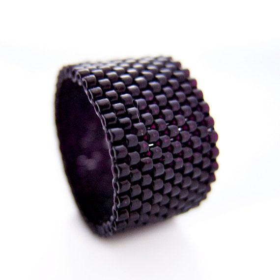 Beaded Black Ring, Black Beaded Ring, Dreadlock Bead, Couple Ring, Ring for Men